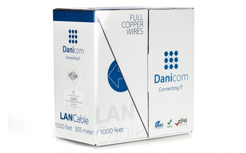 DANICOM Cat6a netwerkkabel op rol - 100% koper