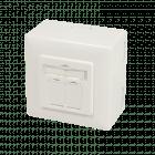 Cat6 netwerkdoos opbouw ivoor - afgeschermd
