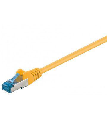 Cat6a netwerkkabel 0,25m geel 100% koper - dubbel afgeschermd