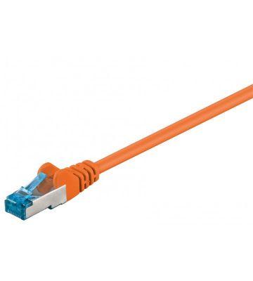 Cat6a netwerkkabel 0,25m oranje 100% koper - dubbel afgeschermd