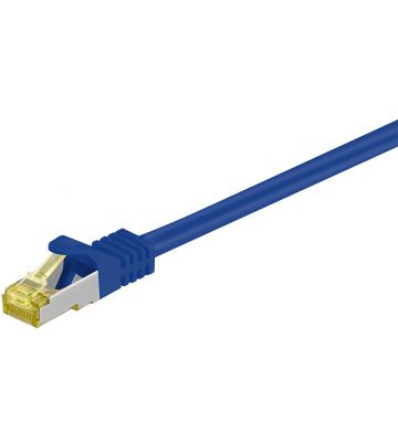 Cat7 netwerkkabel 0,25m blauw 100% koper - dubbel afgeschermd