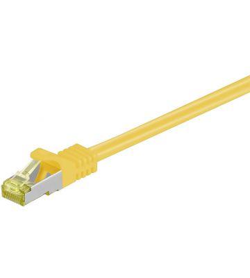 Cat7 netwerkkabel 0,25m geel 100% koper - dubbel afgeschermd