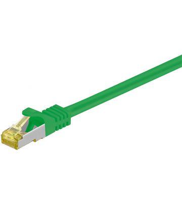 Cat7 netwerkkabel 0,50m groen 100% koper - dubbel afgeschermd
