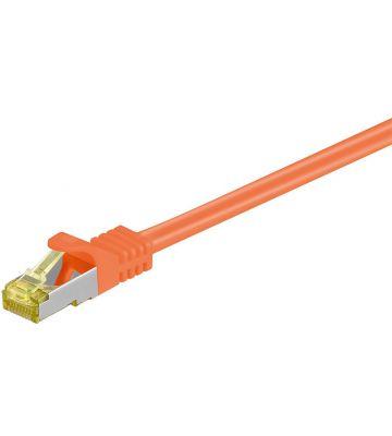 Cat7 netwerkkabel 0,25m oranje 100% koper - dubbel afgeschermd