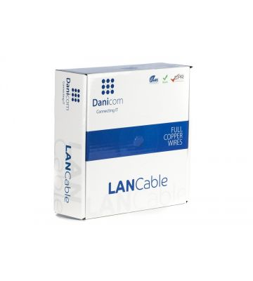 DANICOM Cat7 netwerkkabel op rol 50m stug LSZH (Eca) - dubbel afgeschermd