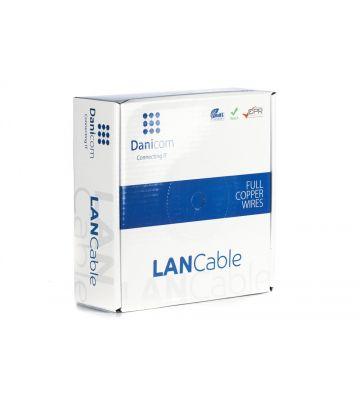 DANICOM Cat6a netwerkkabel op rol 50m stug LSZH (Eca) - niet afgeschermd