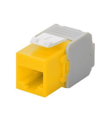 Cat6a keystone netwerkstekker geel LSA - niet afgeschermd