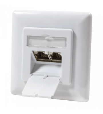 Cat6 netwerkdoos verticaal inbouw wit Roline - afgeschermd