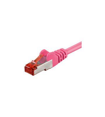 Cat6 netwerkkabel 25m roze 100% koper - dubbel afgeschermd